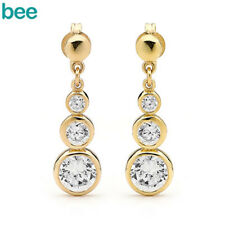 3 Simulated Diamond 9ct Solid Yellow Gold Drop Earrings 54977
