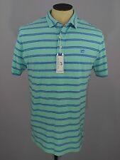 Southern Tide Beachside Polo Shirt Trim Fit Striped Aqua Blue Men's Size L Large
