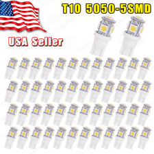 50PCS Xemon White T10 Wedge 5SMD 5050 LED Interior Light bulb 158 159 161 168