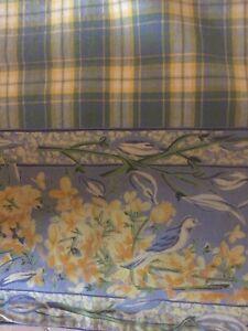 "VTG  APRIL CORNELL TABLE RUNNER WILDFLOWER DESIGN NWT 13' x 72"" BLUE/YELLOW PL"