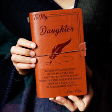 To My Daughter Wherever Journey Love Mom Engraved Leather Journal Notebook Diary
