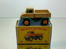 MATCHBOX 49 UNIMOG TRUCK - LIGHT BROWN - VERY GOOD CONDITION IN BOX
