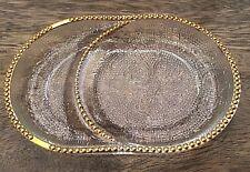 "Set 3 vintage Glass Elegant ""Harp"" Design Gold Beaded Trim Coasters & Ashtrays"