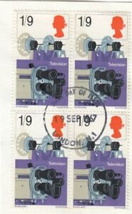 (64324) GB Used Discovery & Invention 1/9 Television block of 4 1967 ON PIECE