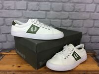 FRED PERRY MENS UK 6 EU 39 WHITE GREEN TRAINERS CANVAS TRAINERS