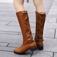 Womens Ladies Knee High Riding Boots Lace Up Zip Low Heel Flat Calf Boots Shoes