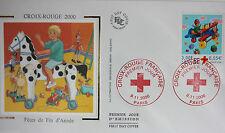 ENVELOPPE PREMIER JOUR - 9 x 16,5 cm - ANNEE 2000 - CROIX-ROUGE FIN D'ANNEE