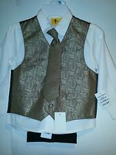 Boys Young Kings by Steve Harvey off White Shirt Carmelize Vest Brown Pants 5