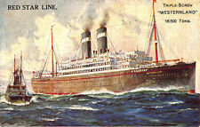 """Red Star Line Triple-Screw """"Westernland"""" Steam Ship Poster Type Postcard"""
