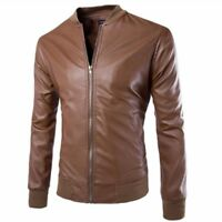 Men's Leather Jacket Coat Biker Motorcycle Slim Fit Outwear Leisure Casual Tops