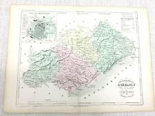 1853 Antique French Map Montpellier Herault France Hand Coloured Engraving
