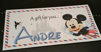 DISNEY *MICKEY/MINNIE* PERSONALISED CHRISTMAS HOLIDAY/TRAVEL MONEY GIFT  WALLET