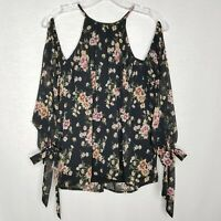 Lulu's Women's Cold Shoulder Blouse Floral Tie Cuff Black Size Small N319P