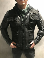 BE EDGY Berlin Denim Jacket Biker mit Lederärmel NEU Black MAX Slim Fit Gr. M