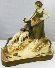 Antique Royal Dux Statue of Young Girl with Two Grazing Sheep