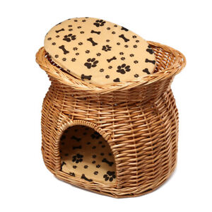 Rattan Cane Willow Wooden Woven Cat Dog Bed Basket Pet House Cushion