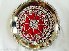 Ritual Stainless Steel Puja Thali Decorated with Designer Febric & Lace & Stone