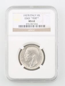 1927-R Italy 10 Lire Silver Coin Slabbed MS-62 FERT Edge NGC Graded Mint State