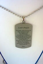 Stainless Lords Prayer Dog Tag with 22 inch Chain
