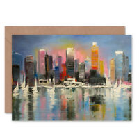 City Harbour Urban Painting Card With Envelope