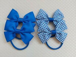 Handmade School Colour Hair Bow Bobbles Accessories royal blue x4