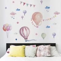 Kid Room Decor Wall Sticker Hot Air Balloon Nursery Decal Clouds Cartoon Fun Kit