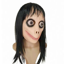 Momo Scary Mask Challenge Latex Horror Mask w/Wig Hair Halloween Party Costume