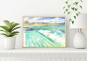 Sydney, Bondi Beach ,Wall Art, Print of Watercolour Painting, Bondi Iceberg
