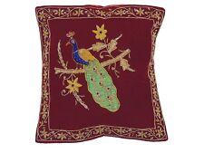 Burgundy Peacock Dabka Work Embroidered Pillow Cover Couch Sofa Throw Cushion