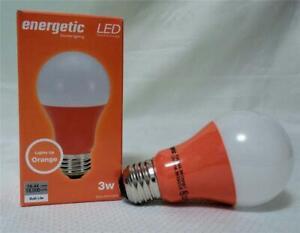 (2) ORANGE Color 3W LED Light Bulb Standard Household Base A19 Indoor NEW!
