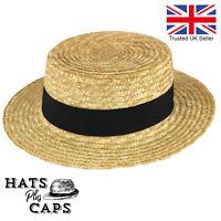 Quality Straw Boater Hat Sailor Skimmer Sun Summer Wide Brim hat