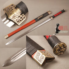 Handmade Chinese Sword Han Dynasty Jian Folded Steel Sharp Blade Redwood Saya