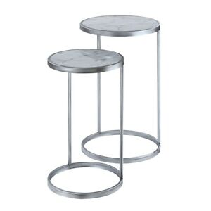 Convenience Concepts Gold Coast Nesting End Tables, Marble/Silver - 413555S