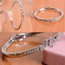 New Silver Plated Crystal Heart Shape Beautiful Bracelet Bangle Delicate Hotsale