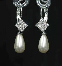 Crystal & Pearl Drop Earrings - Silver Leverback Vintage White Pearl + Gift Box
