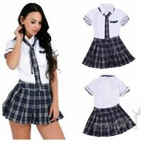 UK Plus Women Students Uniform Sailor School Girl Tops Skirt Fancy Dress Costume