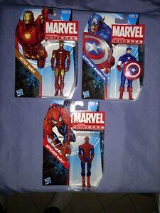 "Marvel Universe 3.75"" Iron Man, Captain America & Spider-Man. 2011, No Series."