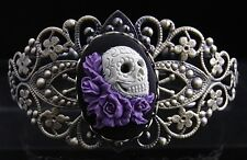 Vintage Style Mexican Sugar Skull with Lavender Roses Cameo Filigree Bracelet