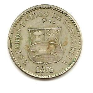 VENEZUELA 1 centavo 1876 Y25 Copper-Nickel 2-year type ABOVE AVERAGE - VERY RARE