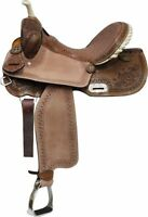 "15"" Double T BARREL Style Saddle With Brown Filigree Seat & Floral Tooling!"
