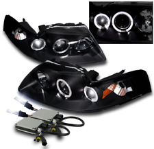 1999-2004 FORD MUSTANG BLACK DRL HALO PROJECTOR HEADLIGHT LAMP+10K XENON HID NEW