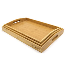 Maison & White Set of 3 Bamboo Trays with Handles - Brown (5055884519600)