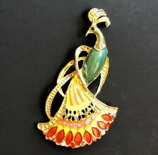 New Peacock Pin Large Bird Swarovski Crystal Jeweled Tail By Rucinni Bling NIP