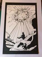 POWDER BURN #1 original art 1999 SIGNED TWICE EXPLOSION SPLASH PAGE
