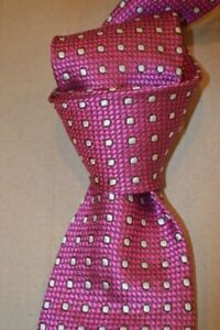 """$250 NWT TOM FORD Pink w/ White Polka dots men's 3.25"""" lux woven Silk tie Italy"""