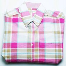 Rockies Womens Pink Tan White Long Sleeve Button Down Western Shirt Size Small