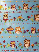 KOKKA Cosmo Japanese Import Cotton Canvas Fabric Owl Mushroom FQ Blue