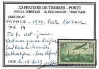 "FRANCE YVERT AIR POST 14 SCOTT # C14 "" PLANE PARIS 50F EMERALD "" MNH VVF V296"