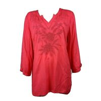 CHARTER CLUB Solid All Pink Embroidered Beaded 3/4 Sleeve Top Womens Size XL