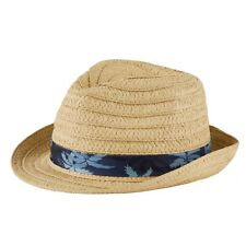 Unisex Kids Straw Fedora with Red Band Natural Color